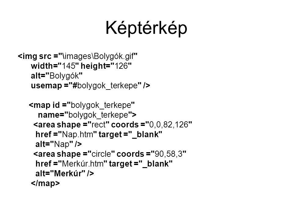 Képtérkép <img src = \images\Bolygók.gif width= 145 height= 126 alt= Bolygók usemap = #bolygok_terkepe /> <map id = bolygok_terkepe name= bolygok_terkepe > <area shape = rect coords = 0,0,82,126 href = Nap.htm target = _blank alt= Nap /> <area shape = circle coords = 90,58,3 href = Merkúr.htm target = _blank alt= Merkúr />