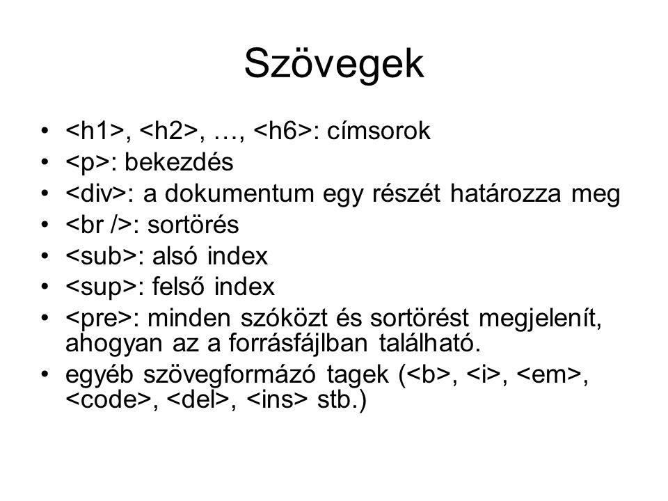 Szövegek,, …, : címsorok : bekezdés : a dokumentum egy részét határozza meg : sortörés : alsó index : felső index : minden szóközt és sortörést megjelenít, ahogyan az a forrásfájlban található.