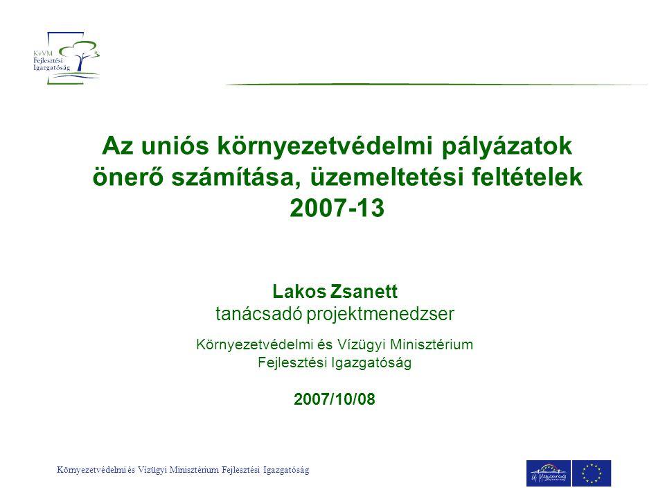 Környezetvédelmi és Vízügyi Minisztérium Fejlesztési Igazgatóság Dokumentumok hierarchiája KEOP Stratégiai célok, horizontális keretek Akciótervek Minden prioritási tengelyre 2 éves időszakokra (2007-08; 2009-10; 2011-13) Az indítani tervezett konkrét pályázati kiírásokkal és projektekkel kapcsolatos információkat tartalmazza (célok, források, támogatás eljárásrendje, kedvezményezetti kör, támogatás mértéke stb.) Konstrukciók / Pályázati egységcsomagok Projekt adatlap és Kitöltési útmutató; Pályázati felhívás, Pályázati útmutató, Támogatási Szerződés tervezet; Elszámolható költség útmutató; CBA útmutató; Önerő- finanszírozási útmutató stb.