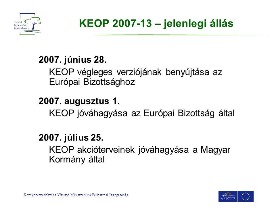 Környezetvédelmi és Vízügyi Minisztérium Fejlesztési Igazgatóság KEOP 2007-13 – jelenlegi állás 2007. június 28. KEOP végleges verziójának benyújtása