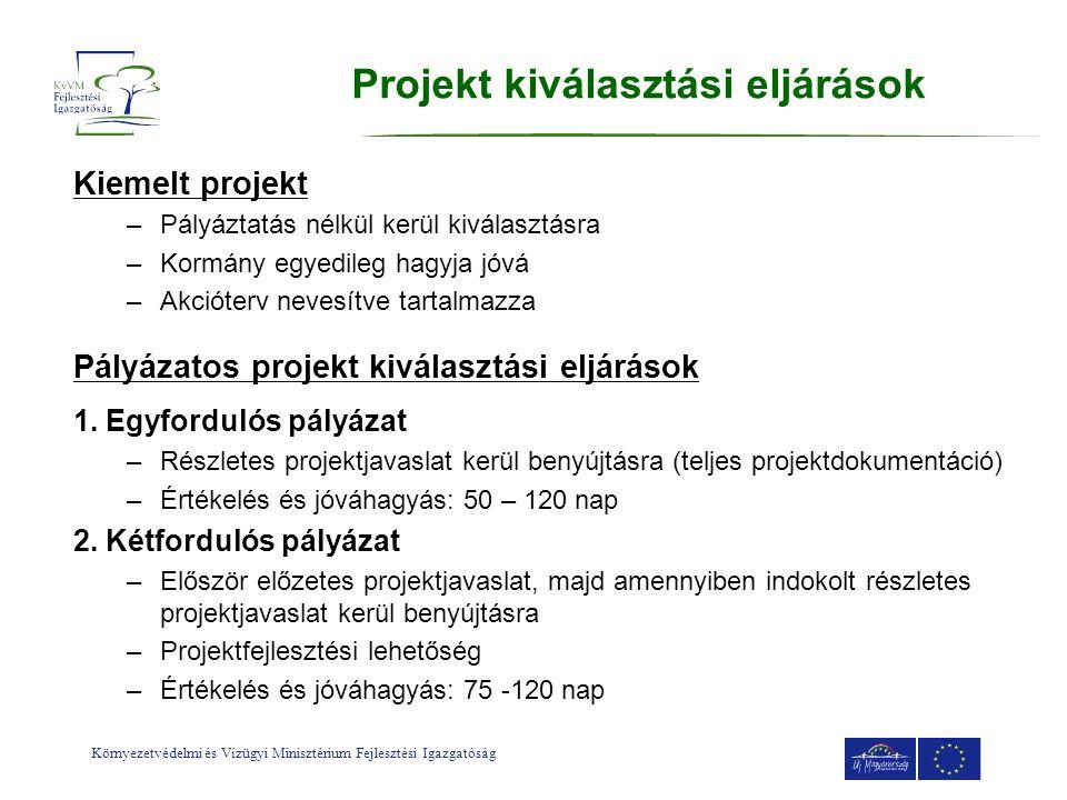 Környezetvédelmi és Vízügyi Minisztérium Fejlesztési Igazgatóság Projekt kiválasztási eljárások Kiemelt projekt –Pályáztatás nélkül kerül kiválasztásr