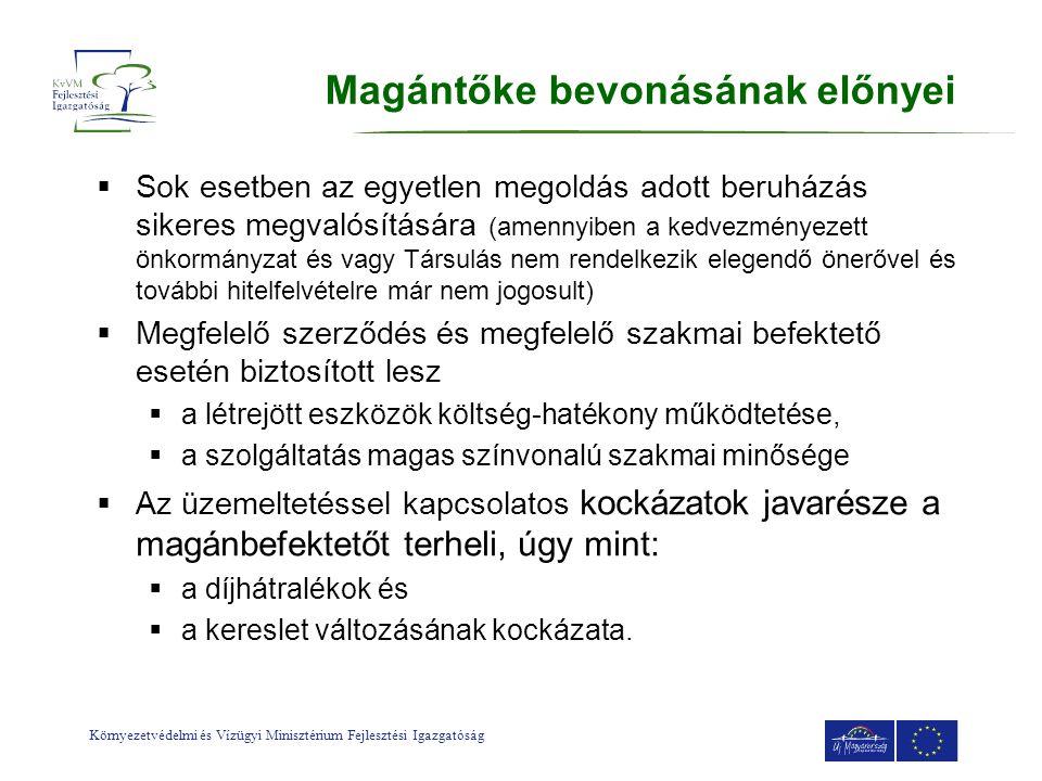 Környezetvédelmi és Vízügyi Minisztérium Fejlesztési Igazgatóság  Sok esetben az egyetlen megoldás adott beruházás sikeres megvalósítására (amennyibe
