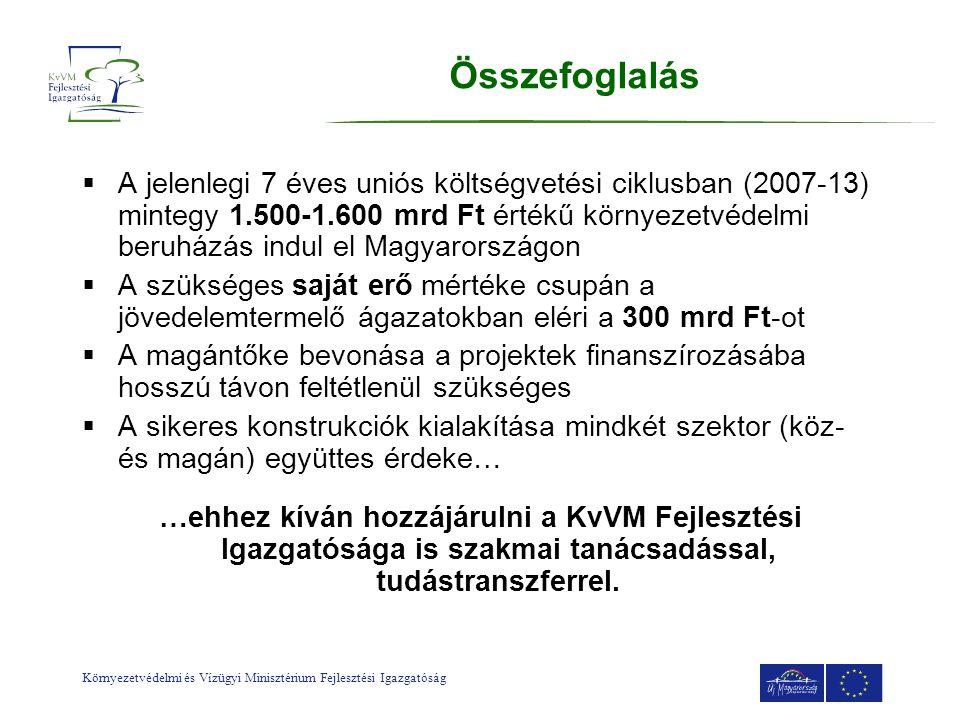 Környezetvédelmi és Vízügyi Minisztérium Fejlesztési Igazgatóság Összefoglalás  A jelenlegi 7 éves uniós költségvetési ciklusban (2007-13) mintegy 1.