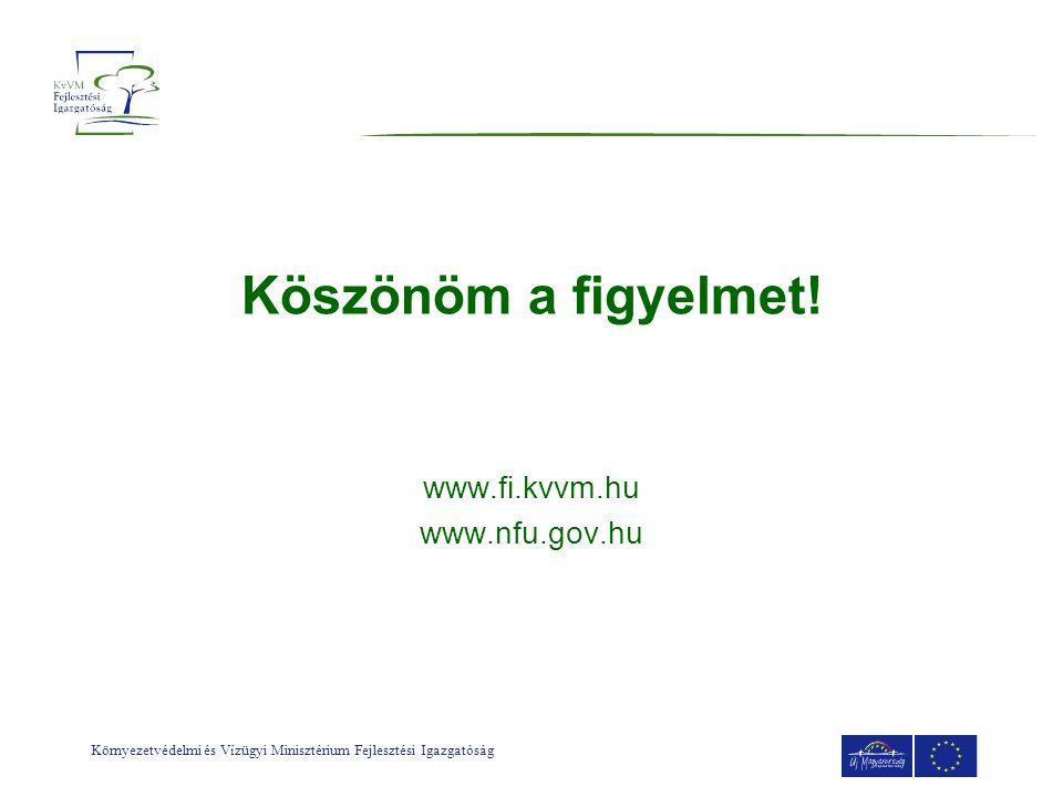 Környezetvédelmi és Vízügyi Minisztérium Fejlesztési Igazgatóság Köszönöm a figyelmet! www.fi.kvvm.hu www.nfu.gov.hu