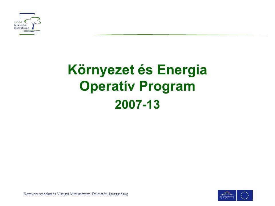 Környezetvédelmi és Vízügyi Minisztérium Fejlesztési Igazgatóság ÚMFT forrásmegosztás 7.000 Mrd Ft