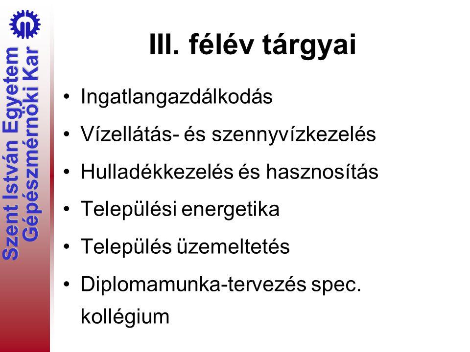 Szent István Egyetem Gépészmérnöki Kar III.