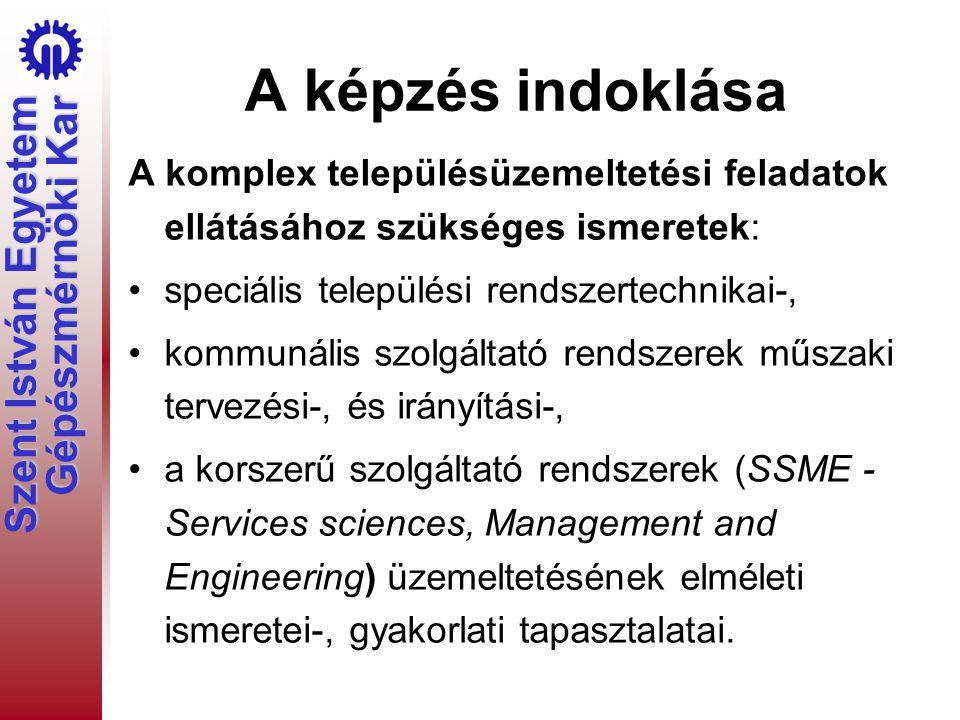 Szent István Egyetem Gépészmérnöki Kar A szakképzettséget igénylő feladatok, munkakörök Kommunális szolgáltató vállalatok műszaki vezetői feladatköre.