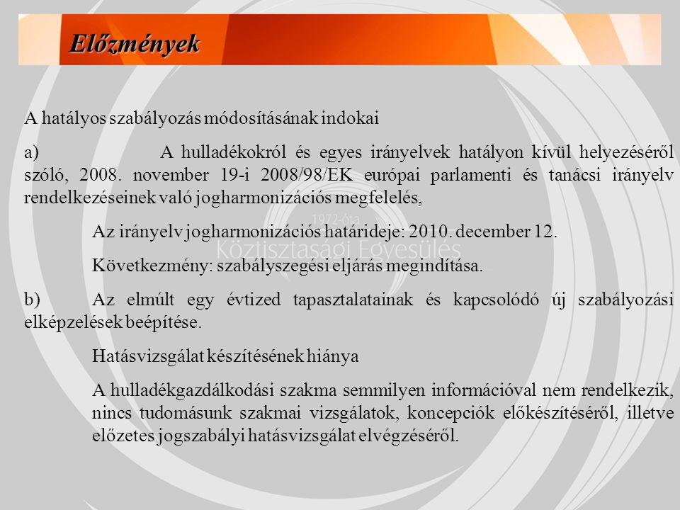 A hatályos szabályozás módosításának indokai a)A hulladékokról és egyes irányelvek hatályon kívül helyezéséről szóló, 2008. november 19-i 2008/98/EK e