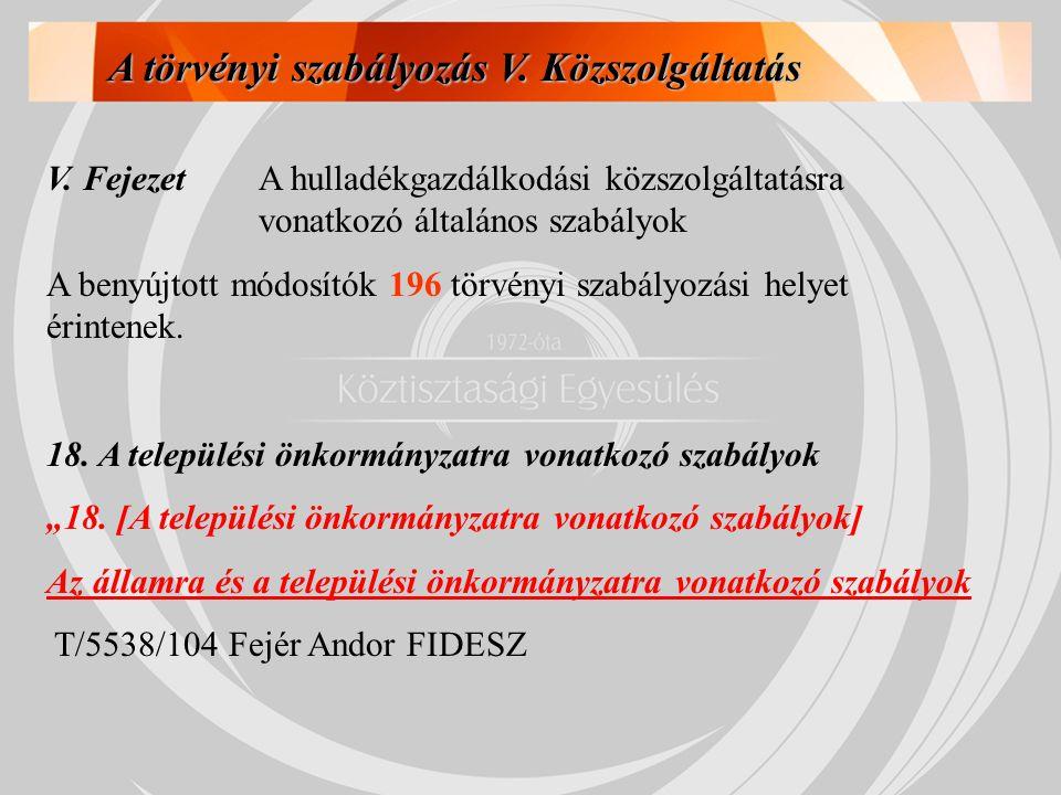 A törvényi szabályozás V. Közszolgáltatás V. FejezetA hulladékgazdálkodási közszolgáltatásra vonatkozó általános szabályok A benyújtott módosítók 196