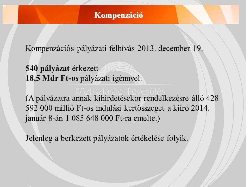 Kompenzációs pályázati felhívás 2013. december 19. 540 pályázat érkezett 18,5 Mdr Ft-os pályázati igénnyel. (A pályázatra annak kihirdetésekor rendelk