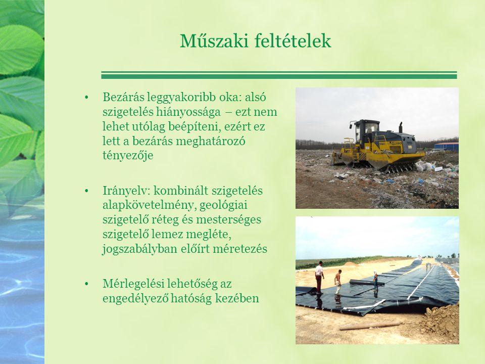 Bezárás következményei, feladatok Rekultiváció, a környezeti kockázat minimálisra csökkentése.