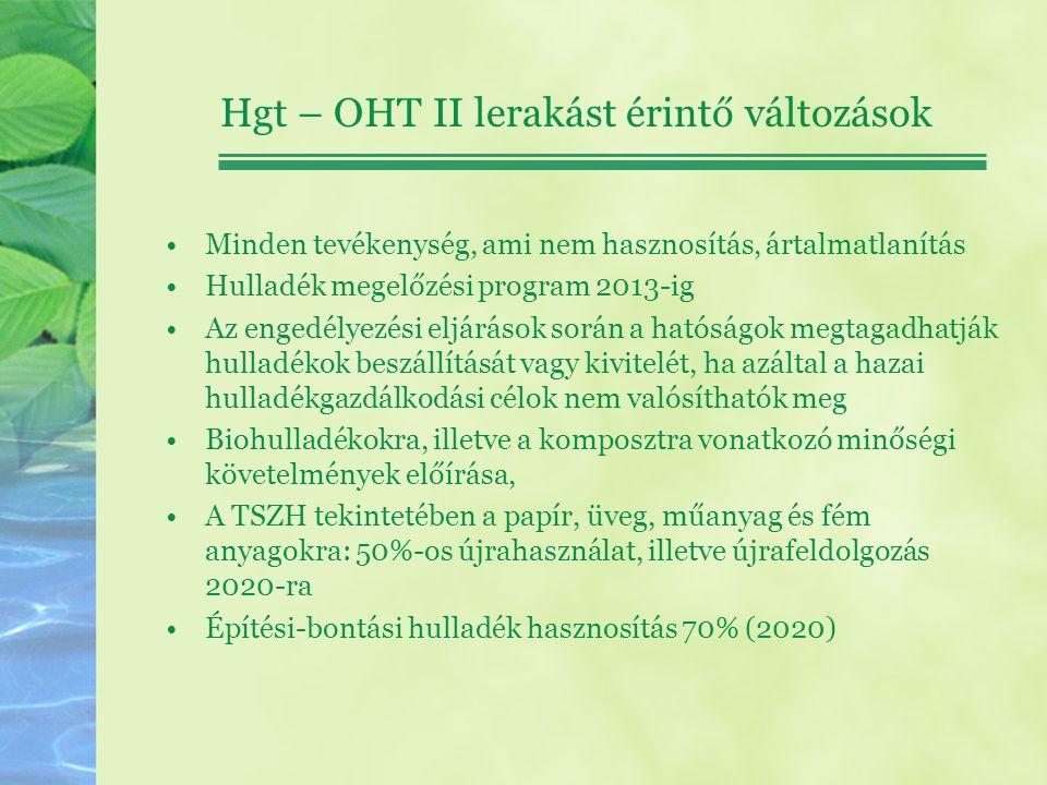 Hgt – OHT II lerakást érintő változások Minden tevékenység, ami nem hasznosítás, ártalmatlanítás Hulladék megelőzési program 2013-ig Az engedélyezési