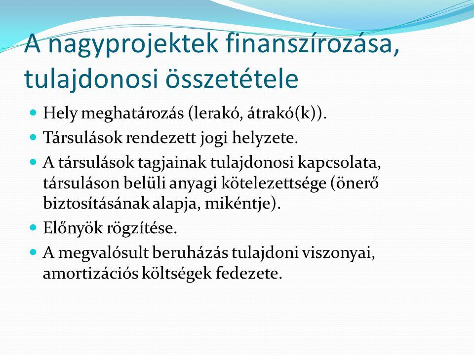 A nagyprojektek finanszírozása, tulajdonosi összetétele Hely meghatározás (lerakó, átrakó(k)). Társulások rendezett jogi helyzete. A társulások tagjai