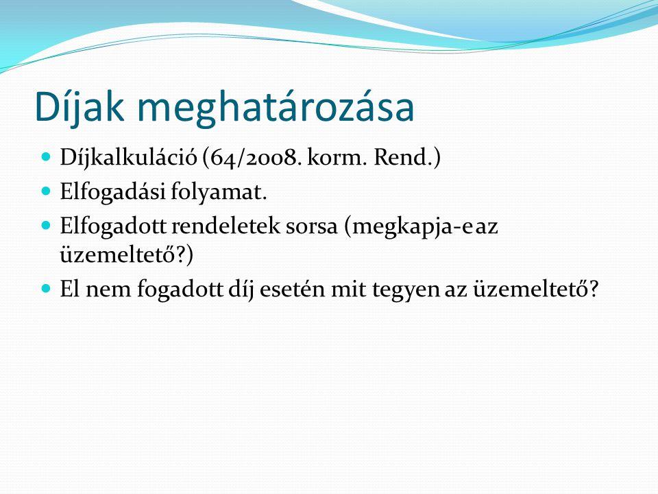 Díjak meghatározása Díjkalkuláció (64/2008. korm.