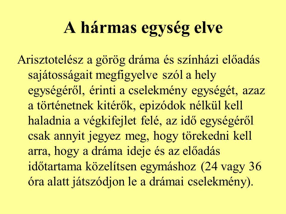A hármas egység elve Arisztotelész a görög dráma és színházi előadás sajátosságait megfigyelve szól a hely egységéről, érinti a cselekmény egységét, azaz a történetnek kitérők, epizódok nélkül kell haladnia a végkifejlet felé, az idő egységéről csak annyit jegyez meg, hogy törekedni kell arra, hogy a dráma ideje és az előadás időtartama közelítsen egymáshoz (24 vagy 36 óra alatt játszódjon le a drámai cselekmény).