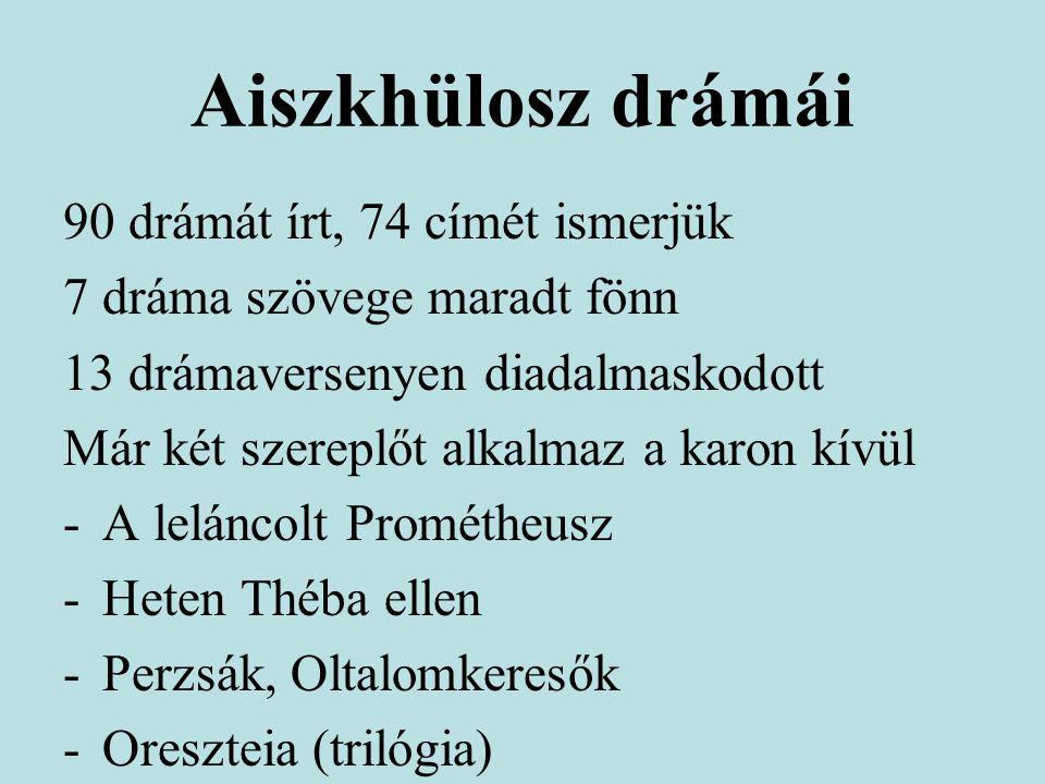 Aiszkhülosz drámái 90 drámát írt, 74 címét ismerjük 7 dráma szövege maradt fönn 13 drámaversenyen diadalmaskodott Már két szereplőt alkalmaz a karon kívül -A leláncolt Prométheusz -Heten Théba ellen -Perzsák, Oltalomkeresők -Oreszteia (trilógia)