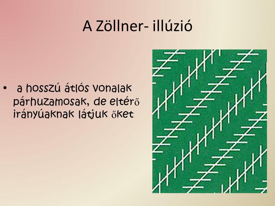 A Zöllner- illúzió a hosszú átlós vonalak párhuzamosak, de eltér ő irányúaknak látjuk ő ket