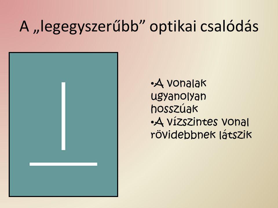 """A """"legegyszerűbb"""" optikai csalódás A vonalak ugyanolyan hosszúak A vízszintes vonal rövidebbnek látszik"""