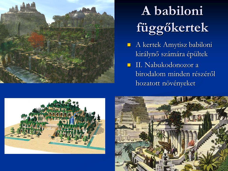 A babiloni függőkertek A kertek Amytisz babiloni királynő számára épültek A kertek Amytisz babiloni királynő számára épültek II. Nabukodonozor a birod