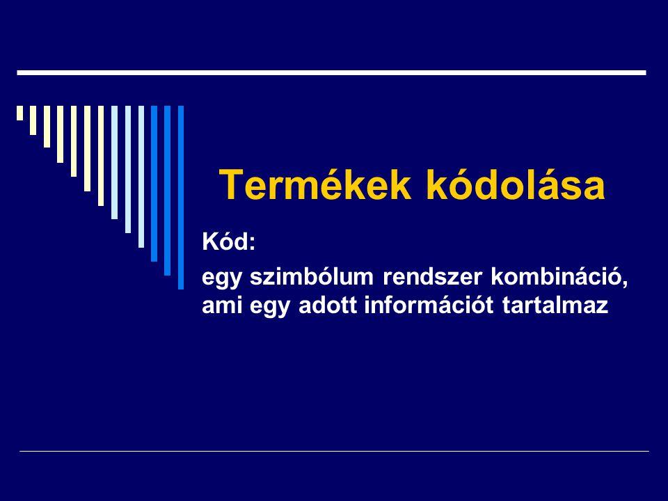 Termékek kódolása Kód: egy szimbólum rendszer kombináció, ami egy adott információt tartalmaz