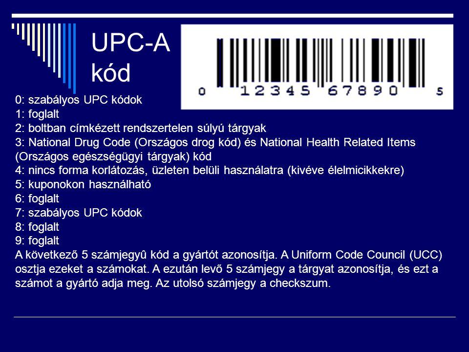 UPC-A kód 0: szabályos UPC kódok 1: foglalt 2: boltban címkézett rendszertelen súlyú tárgyak 3: National Drug Code (Országos drog kód) és National Health Related Items (Országos egészségügyi tárgyak) kód 4: nincs forma korlátozás, üzleten belüli használatra (kivéve élelmicikkekre) 5: kuponokon használható 6: foglalt 7: szabályos UPC kódok 8: foglalt 9: foglalt A következő 5 számjegyû kód a gyártót azonosítja.