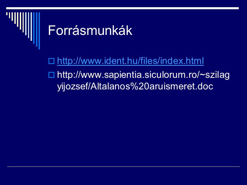 Forrásmunkák  http://www.ident.hu/files/index.html http://www.ident.hu/files/index.html  http://www.sapientia.siculorum.ro/~szilag yijozsef/Altalanos%20aruismeret.doc