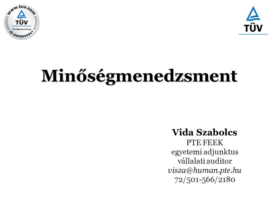 Minőségmenedzsment Vida Szabolcs PTE FEEK egyetemi adjunktus vállalati auditor visza@human.pte.hu 72/501-566/2180
