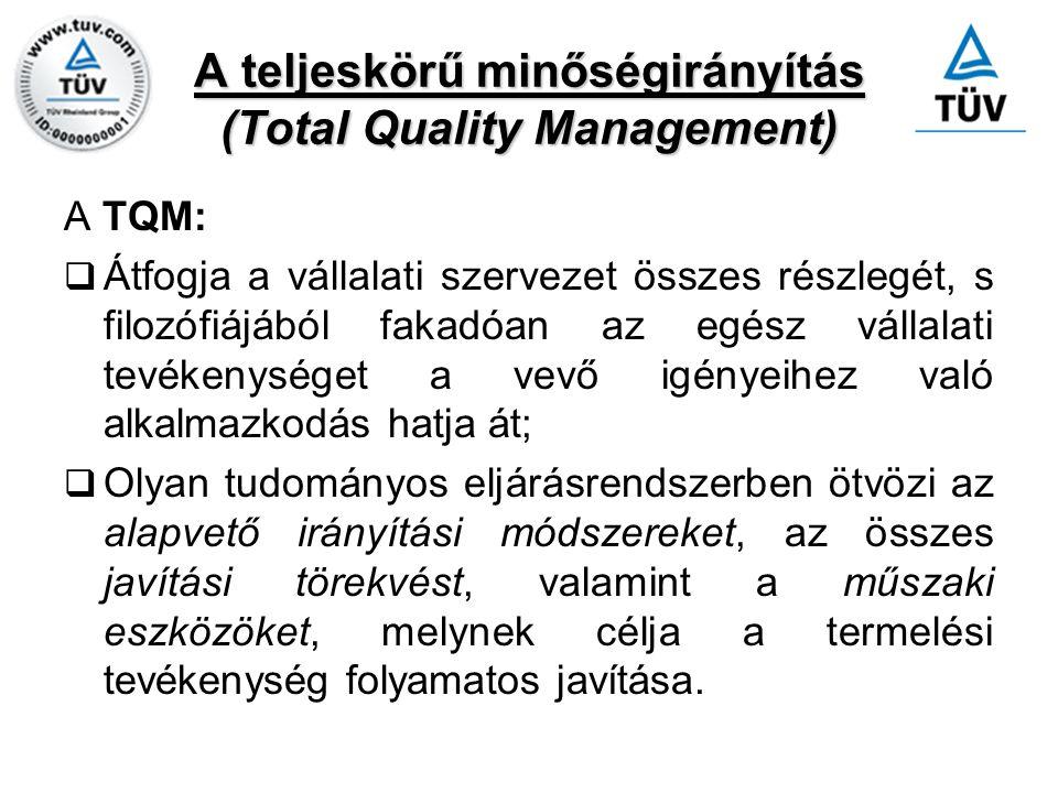 A teljeskörű minőségirányítás (Total Quality Management) A TQM:  Átfogja a vállalati szervezet összes részlegét, s filozófiájából fakadóan az egész v