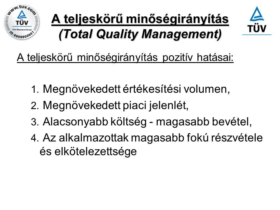 A teljeskörű minőségirányítás (Total Quality Management) A teljeskörű minőségirányítás pozitív hatásai: 1. Megnövekedett értékesítési volumen, 2. Megn