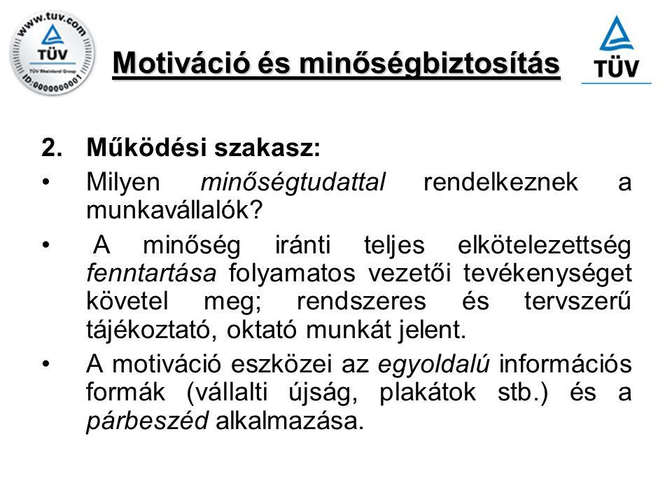 Motiváció és minőségbiztosítás 2.Működési szakasz: Milyen minőségtudattal rendelkeznek a munkavállalók? A minőség iránti teljes elkötelezettség fennta