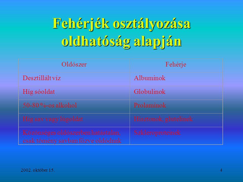 2002. október 15.4 Fehérjék osztályozása oldhatóság alapján OldószerFehérje Desztillált vízAlbuminok Híg sóoldatGlobulinok 50-80 %-os alkoholProlamino