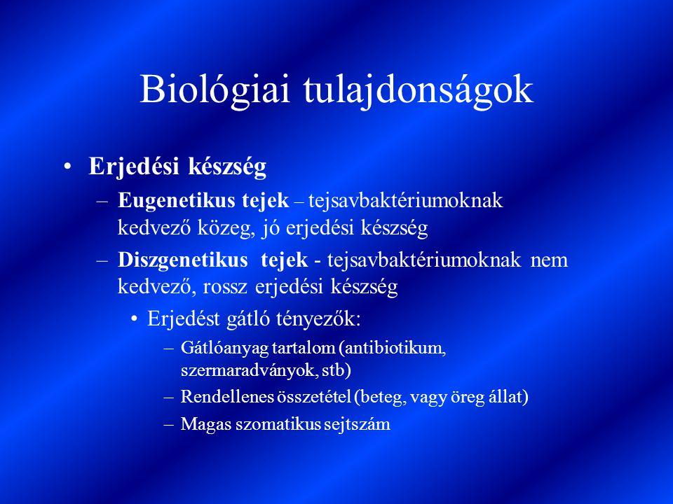 Biológiai tulajdonságok Erjedési készség –Eugenetikus tejek – tejsavbaktériumoknak kedvező közeg, jó erjedési készség –Diszgenetikus tejek - tejsavbak