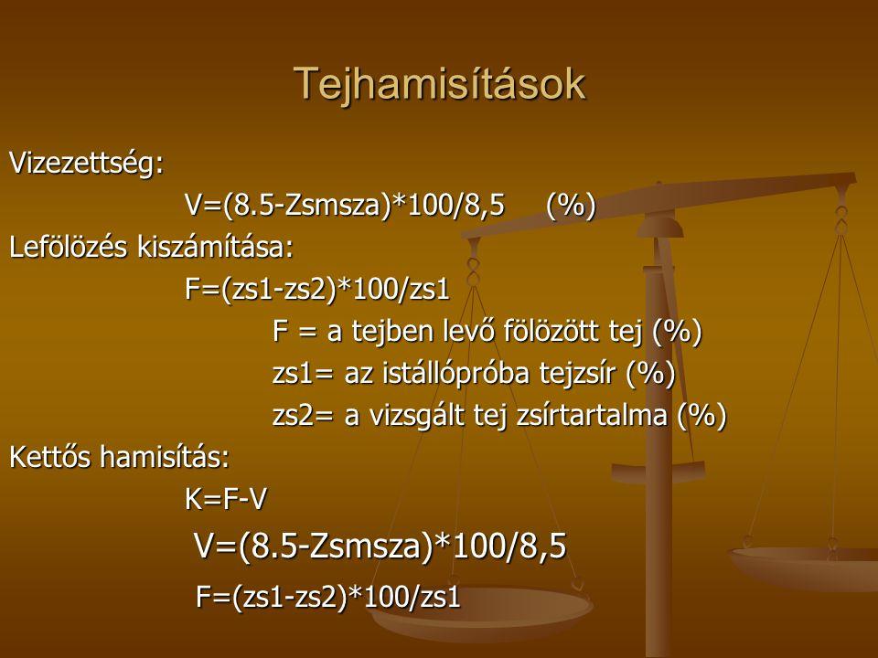 Tejhamisítások Vizezettség: V=(8.5-Zsmsza)*100/8,5 (%) Lefölözés kiszámítása: F=(zs1-zs2)*100/zs1 F = a tejben levő fölözött tej (%) F = a tejben levő