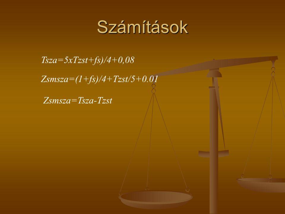 Számítások Tsza=5xTzst+fs)/4+0,08 Zsmsza=(1+fs)/4+Tzst/5+0.01 Zsmsza=Tsza-Tzst