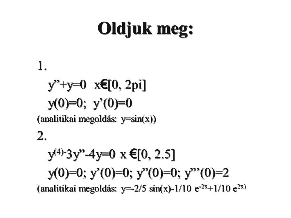 Oldjuk meg: 1.y +y=0 x € [0, 2pi] y(0)=0; y'(0)=0 (analitikai megoldás: y=sin(x)) 2.