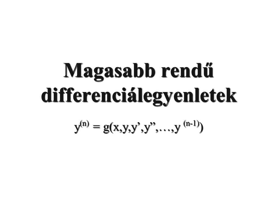Magasabb rendű differenciálegyenletek y (n) = g(x,y,y',y ,…,y (n-1) )