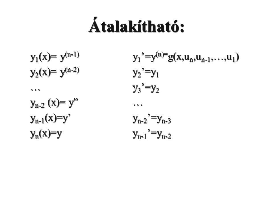 "Átalakítható: y 1 (x)= y (n-1) y 2 (x)= y (n-2) … y n-2 (x)= y"" y n-1 (x)=y' y n (x)=y y 1 '=y (n)= g(x,u n,u n-1,…,u 1 ) y 2 '=y 1 y 3 '=y 2 … y n-2"