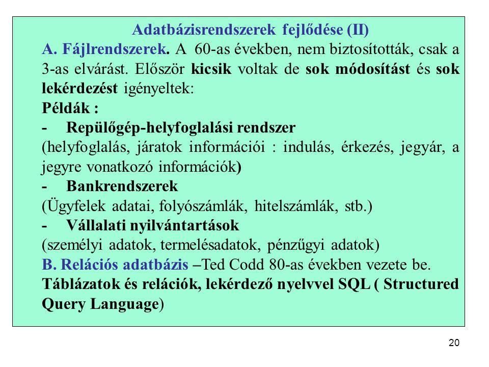 20 Adatbázisrendszerek fejlődése (II) A. Fájlrendszerek.