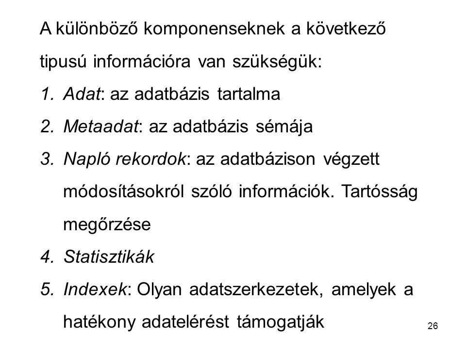 26 A különböző komponenseknek a következő tipusú információra van szükségük: 1.Adat: az adatbázis tartalma 2.Metaadat: az adatbázis sémája 3.Napló rekordok: az adatbázison végzett módosításokról szóló információk.
