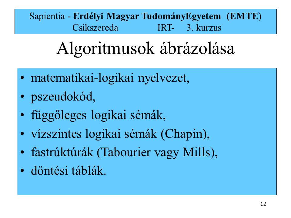 12 Sapientia - Erdélyi Magyar TudományEgyetem (EMTE) Csíkszereda IRT-3. kurzus matematikai-logikai nyelvezet, pszeudokód, függőleges logikai sémák, ví
