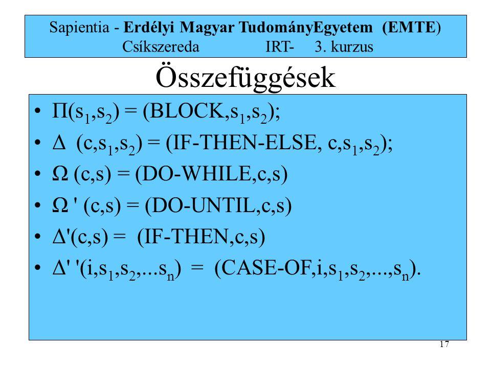 17 Sapientia - Erdélyi Magyar TudományEgyetem (EMTE) Csíkszereda IRT-3. kurzus Π(s 1,s 2 ) = (BLOCK,s 1,s 2 ); Δ (c,s 1,s 2 ) = (IF-THEN-ELSE, c,s 1,s