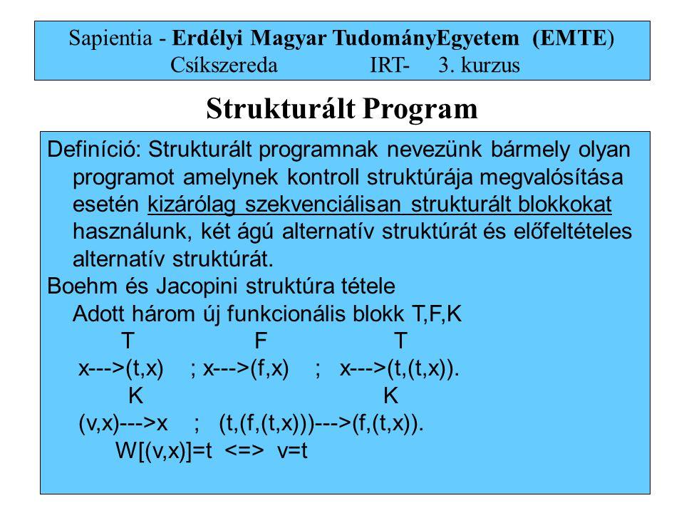 22 Sapientia - Erdélyi Magyar TudományEgyetem (EMTE) Csíkszereda IRT-3. kurzus Strukturált Program Definíció: Strukturált programnak nevezünk bármely