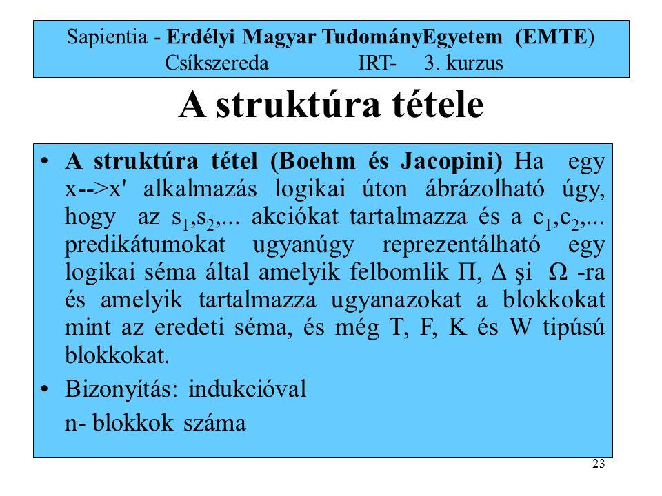 23 Sapientia - Erdélyi Magyar TudományEgyetem (EMTE) Csíkszereda IRT-3. kurzus A struktúra tétele A struktúra tétel (Boehm és Jacopini) Ha egy x-->x'