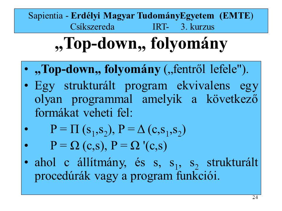 """24 Sapientia - Erdélyi Magyar TudományEgyetem (EMTE) Csíkszereda IRT-3. kurzus """"Top-down"""" folyomány """"Top-down"""" folyomány (""""fentről lefele"""