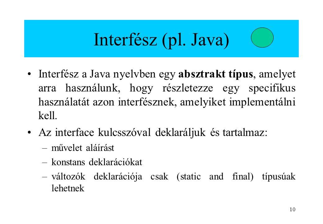 10 Interfész (pl. Java) Interfész a Java nyelvben egy absztrakt típus, amelyet arra használunk, hogy részletezze egy specifikus használatát azon inter
