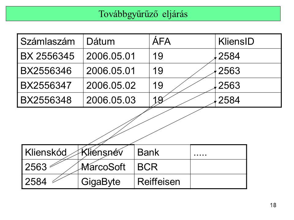 18 Továbbgyűrűző eljárás SzámlaszámDátumÁFAKliensID BX 25563452006.05.01192584 BX25563462006.05.01192563 BX25563472006.05.02192563 BX25563482006.05.03
