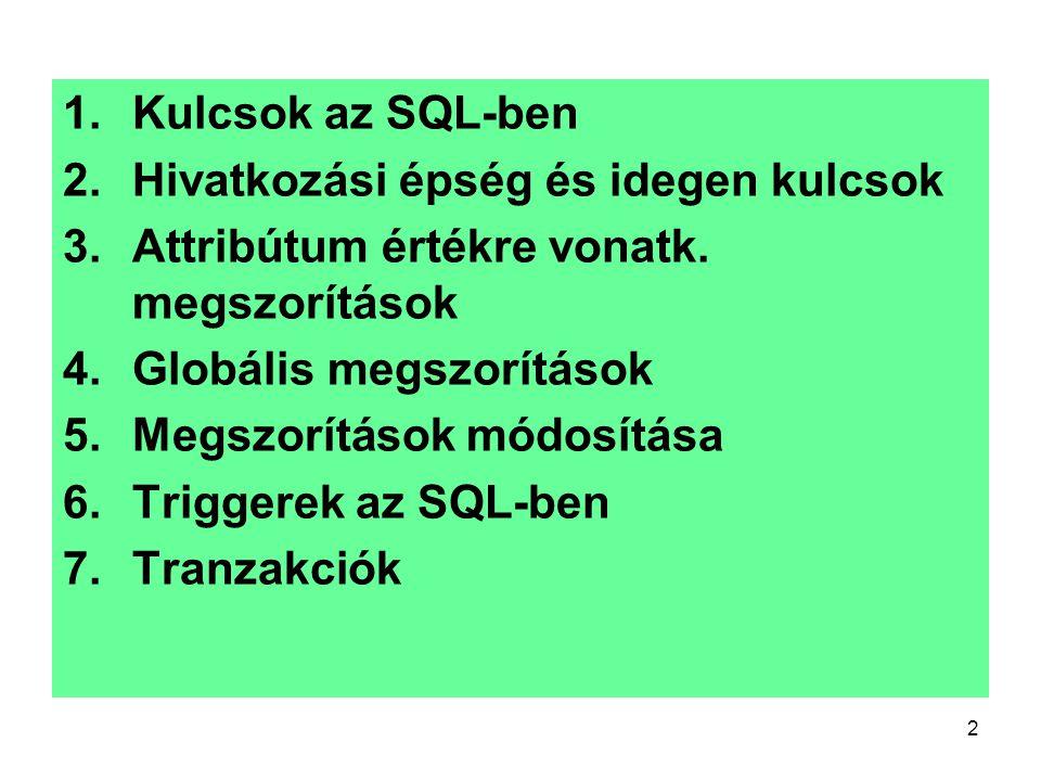 2 1.Kulcsok az SQL-ben 2.Hivatkozási épség és idegen kulcsok 3.Attribútum értékre vonatk. megszorítások 4.Globális megszorítások 5.Megszorítások módos