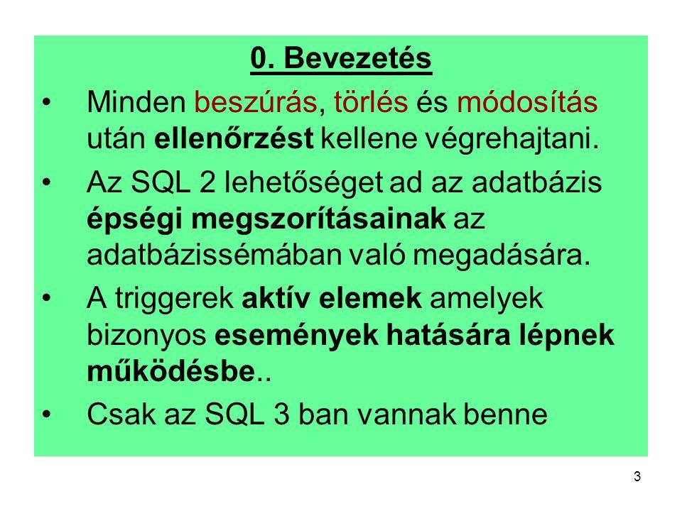 3 0. Bevezetés Minden beszúrás, törlés és módosítás után ellenőrzést kellene végrehajtani. Az SQL 2 lehetőséget ad az adatbázis épségi megszorításaina