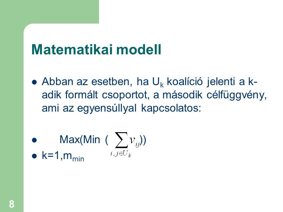 8 Matematikai modell Abban az esetben, ha U k koalíció jelenti a k- adik formált csoportot, a második célfüggvény, ami az egyensúllyal kapcsolatos: Max(Min ( )) k=1,m min