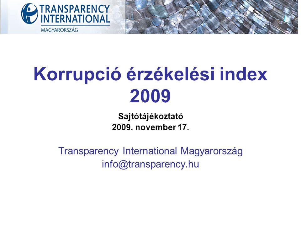 Korrupció érzékelési index 2009 Sajtótájékoztató 2009. november 17. Transparency International Magyarország info@transparency.hu